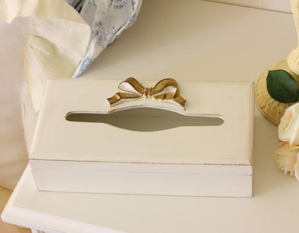 シャビーシックなイタリア製 SOLDI リボンティッシュボックス 木製 ホワイト×ゴールドリボン 姫系 アンティーク風 シ