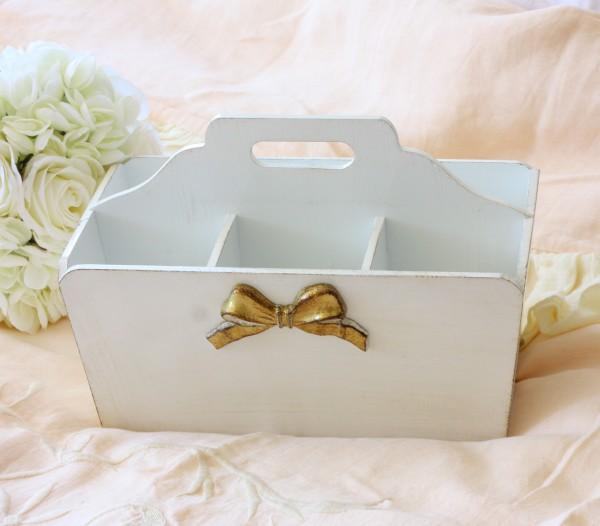 イタリア製 SOLDI フリーボックス(6仕切り) ホワイト×ゴールドリボン リボンモチーフ