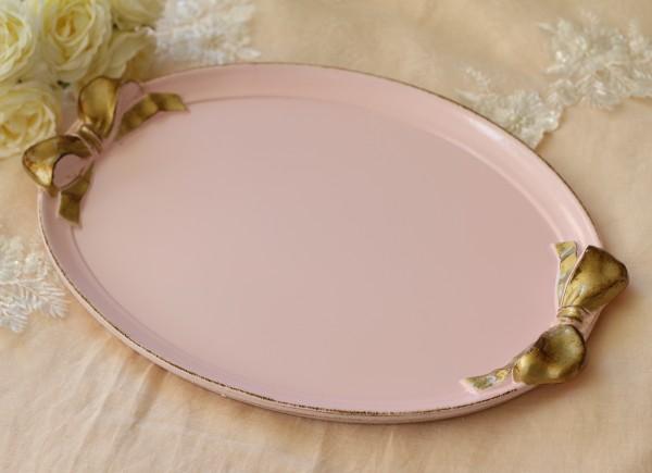 イタリア製 リボン SOLDI オーバルトレー 楕円 ピンク×ゴールドリボン  トレイ アンティーク風 お盆 木製 シャビー