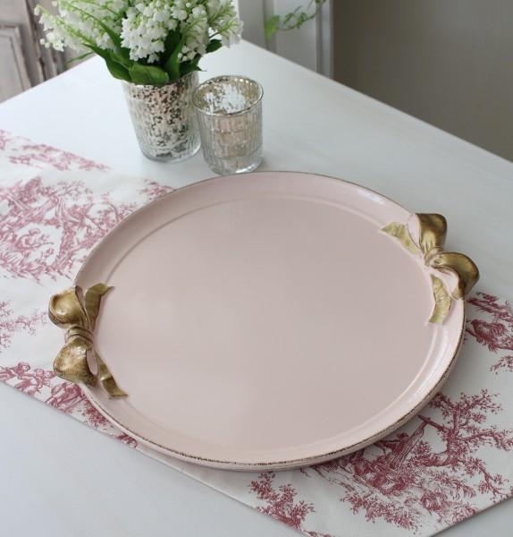 イタリア製 リボン SOLDI ラウンドトレイ お盆 丸型 ピンク×ゴールドリボン トレー ディスプレイ 木製 アンティーク風 雑貨 シャ