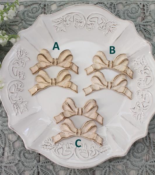イタリア製 SOLDI リボン カトラリーレスト(ピンク系A,B,C) 箸置き はし置き アンティーク風 おしゃれ シャビー