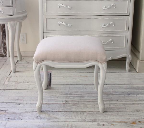 シャビーシック リュバンシリーズ スツール (1370) オットマン 椅子 木製 (白家具 ロココ調 姫系 姫家具 猫足 アンティーク かわ