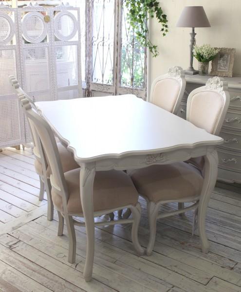 (予約注文品 12月分) シャビーシック リュバンシリーズ ダイニング5点セットト 135cm テーブル 椅子 4人掛け 木製 (白家具
