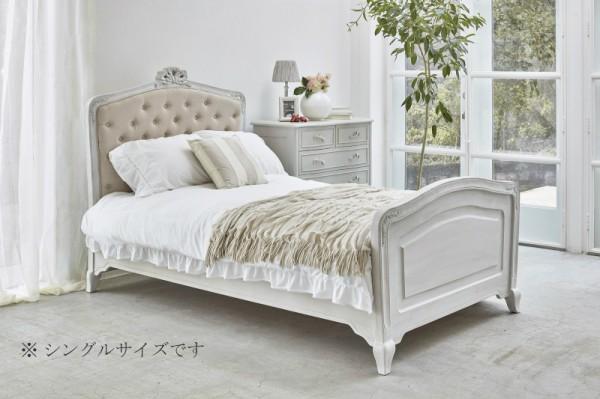 シャビーシック リュバンシリーズ シングルベッド (1943-S)木製 (白家具 ロココ調 姫系 姫家具 猫足 アンティーク かわいい リ
