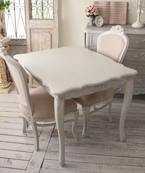 シャビーシック リュバンシリーズ ダイニング3点セットト 100cm テーブル 椅子 2人掛け 木製 (白家具 ロココ調 姫系 姫家具