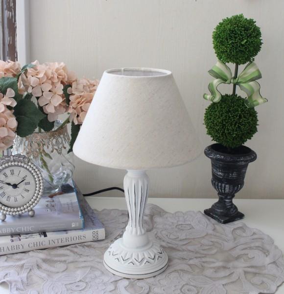 アンティークな卓上ランプ(ホワイト×ベージュ)テーブルランプ LED対応 おしゃれ アンティーク風 シャビーシック フレ