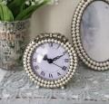 リボンパールの置時計 ラウンド  テーブルクロック 可愛い アンティーク風 シャビーシック フレンチカントリー テーブルクロック