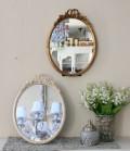 プリマリボンのミラー(ホワイト・ゴールド)壁掛け・卓上両用 ウォールミラー  可愛い アンティーク風 シャビーシック フレンチ