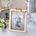 フレンチリボン フォトフレーム 四角 レクト ホワイト ゴールド 写真立て 可愛い アンティーク風 アンティーク調 姫系 シャビー