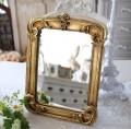 アンティークなスクエアミラー ゴールド 四角 壁掛け 卓上 スタンドミラー 可愛い アンティーク風 アンティーク調 姫系 シャビー