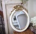 ロココ調 リボンミラー ホワイト×ゴールド 楕円 壁掛け 可愛い アンティーク風 アンティーク調 姫系 シャビーシック フレンチシ