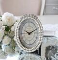 リボンパール 置時計 オーバル 楕円形  アンティーク風 シャビーシック フレンチシャビー 姫系 テーブルクロック リボンモチーフ