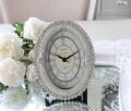 エナメルストーン 置時計 オーバル 楕円形  アンティーク風 シャビーシック フレンチシャビー 姫系 テーブルクロック リボンモチ