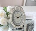 猫脚パール 置時計 オーバル 楕円形  アンティーク風 シャビーシック フレンチシャビー 姫系 テーブルクロック リボンモチーフ