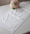 フルールレース テーブルランナー ホワイト ドイリー フレンチシャビー シャビーシック テーブルセンター 布製 刺繍 アンティー