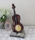 バイオリン 置時計 楽器 ヴァイオリン アンティーク風 シャビーシック フレンチシャビー 姫系 テーブルクロック アンティーク 雑