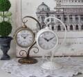アンティークな両面置時計 (オフホワイト・ブロンズ) テーブルクロック 可愛い アンティーク風 シャビーシック フレンチカント