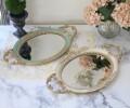 ロココスタイル ミラートレー(ホワイト・グリーン)ディスプレイトレー 鏡 ロココ調 姫系 可愛い アンティーク風 シャビーシッ
