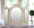 ★SALE・40★ 三面鏡 イタリア製 卓上ミラー ホワイト×ゴールド ロココ調