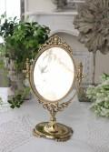 イタリアから届く真鍮製の卓上ミラー(ゴールド) 卓上 鏡 アンティーク風 イタリア製 輸入雑貨 ヨーロピアン ロココ調