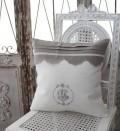 フランスから届くフレンチリネン(クッション・ホワイト×グレースカラップ) 中綿(パンヤ付き) 【Blanc de Paris】 クッシ