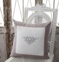 フランスから届くフレンチリネンクッション (ホワイト×グレーフレーム) 中綿(パンヤ付き) Blanc de Paris 40cm角 モノグラ