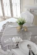 フランスから届くフレンチリネン テーブルクロス 85cm角 リネングレー Blanc de Paris トップクロス モノグラム刺繍 シャビーシ