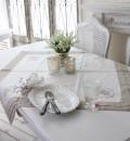 テーブルクロス 85cm角 ホワイト×ベージュ Blanc de Paris シャビーシック アンティーク風 フレンチカントリー トップクロス フ