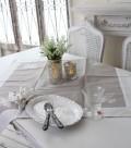 テーブルクロス トップクロス モノグラム刺繍 Blanc de Paris 85cm角 (グレイ×ホワイト)シャビーシック アンティーク風 フレン