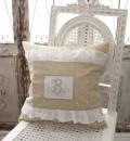 NEW♪ フランスから届くフレンチリネン クッション・ハートベージュ 中綿 パンヤ付き【Blanc de Paris】クッション 40cm角