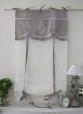 フランスから届くフレンチリネン(ウィンドウカーテン60×160・ホワイト×グレーリボン) 【Blanc de Paris】 リボン調整