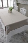 フランスから届くフレンチリネン テーブルクロス 160×250cm ナプキン付き (ベージュ×ホワイト) 【Blanc de Paris】 テーブルク