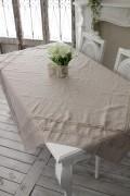 フランスから届くフレンチリネン テーブルクロス 150×150cm(リネンベージュ) 【Blanc de Paris】 トップクロス テーブルクロ