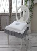 フランスから届くフレンチリネン(チェアパッド・ホワイト×グレーリボン) 中綿(パンヤ付き) 【Blanc de Paris】 クッショ