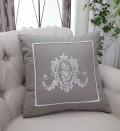 NEW♪ フランスから届くフレンチリネン(クッション・グレージュ刺繍) 中綿(パンヤ付き) 【Blanc de Paris】  クッシ