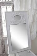 ★SALE・40★ 壁掛けミラー スクエア 四角 Blanc Mariclo ブランマリクロ  鏡 木製 リボンモチーフ シャビーシック ホワイト