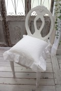 ジャガードフリルのチェアパッド(ホワイト)椅子クッション【Blanc Mariclo ブランマリクロ】イタリア直輸入 シャビーシック