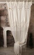 レースカーテン(VILLA ROSSELMINI・B-1)【Blanc Mariclo ブランマリクロ】イタリア直輸入 カーテン 間仕切り 紐タイプ シャビ