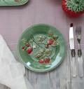 アンティークな輸入食器 ケーキプレート ケーキ皿(ストロベリー・イチゴモチーフ) ボルダロ・ピニェイロ ポルトガル製 おしゃ