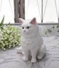 アンティークな猫の置物(ホワイト)陶器製 キャット オブジェ ボルダロ・ピニェイロ ポルトガル製 おしゃれ シャビーシック ア