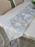 撥水 テーブルランナー ブルーフラワー 30×180cm はっ水 ジャガード織 布製 テーブルセンター ドイリー フラワー 花柄 テーブ