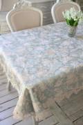 撥水 テーブルクロス ブルーフラワー 130×230cm はっ水 ジャガード織 布製 レース トップクロス 長方形 フラワー 花柄 フリー