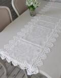 撥水 テーブルランナー 45×150cm ジャガードダマスク レース オフホワイト はっ水 テーブルセンター ジャガード織 布製 テーブ