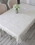撥水 テーブルクロス 120×160cm ジャガードダマスク レース オフホワイト はっ水 テーブルセンター ジャガード織 布製 テーブ