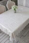 撥水 テーブルクロス 135×190cm ジャガードダマスク レース オフホワイト はっ水 テーブルセンター ジャガード織 布製 テーブ