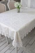 撥水 テーブルクロス 135×225cm ジャガードダマスク レース オフホワイト はっ水 テーブルセンター ジャガード織 布製 テーブ