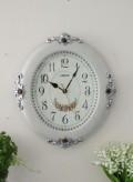 ロココ調のオーバルクロック(音がしないスイープタイプ) 掛時計 白色 アンティーク 雑貨 アンティーク風 姫系 antique