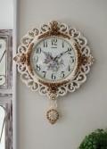 ロココ調のローズ振り子掛け時計(音がしないスイープタイプ) 掛時計 白色 アンティーク 雑貨 アンティーク風 姫系 antique