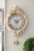ロココ調のローズ振り子掛け時計Lサイズ(音がしないスイープタイプ) 掛時計 白色 アンティーク 雑貨 アンティーク風 姫系