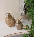 ★SALE・30★ ペアの愛らしいバードオブジェ・2個セット 鳥置物 バード 鳥モチーフ 輸入雑貨 アンティーク調 アンティー